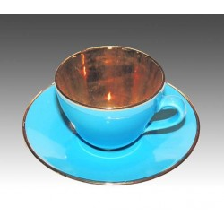 Beautiful blue Mocca cup with gold inside