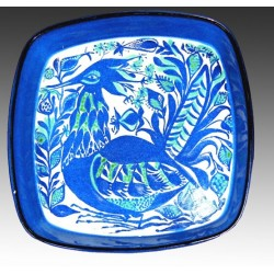 Peacock Tenera dish - Signed Marianne Johnson